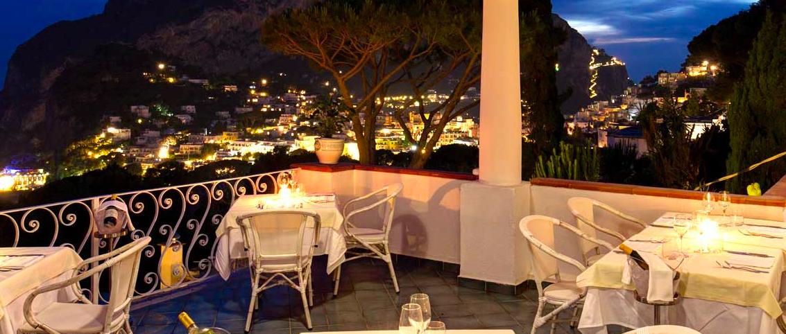 Ristorante Lapalette Capri South Italy Atmosphere View Romantic Dusk