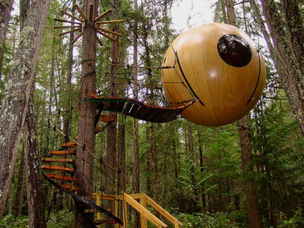 Unusual Weird Hotels BiniBlog Free Spirit Spheres Vancouver Island Canada