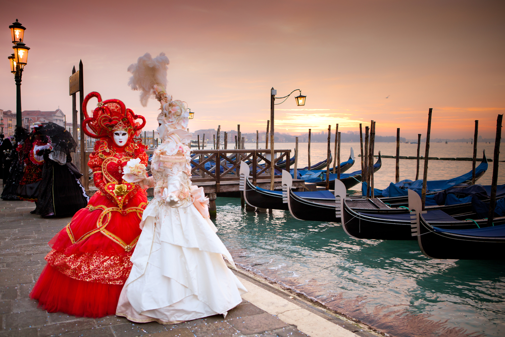 Venetian Carnival February Valentines Day Romance Couple Costume Masks Canals Gondola Wine Tasting Piazza San Marco
