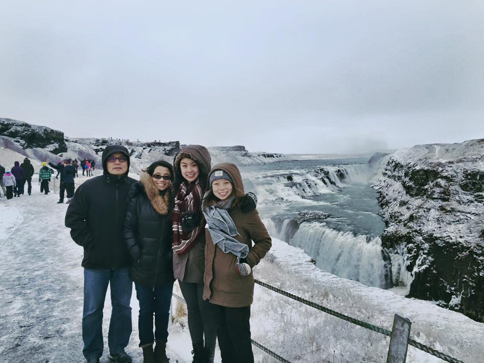 A family photo at Gulfoss