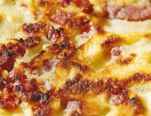 Recipe Tartiflette French Cuisine Swiss Border Reblochon Cheese Potatoes Creamy Bacon Comfort food Ski Alps Haute-Savoie