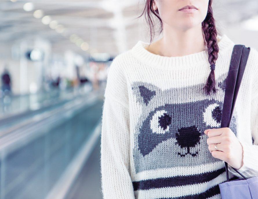 dress comfortably tips travel lifestyle BiniBlog LocalBini style fabrics women airport girl sweater cosy racoon pastel