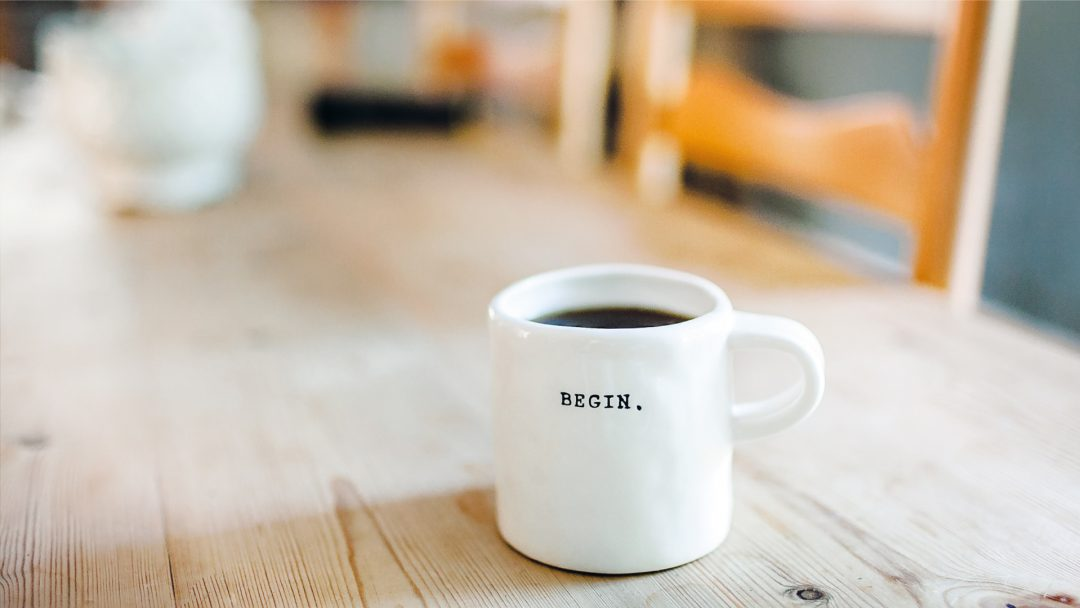begin new year resolution goal morning coffee inspiration table chair cup mug
