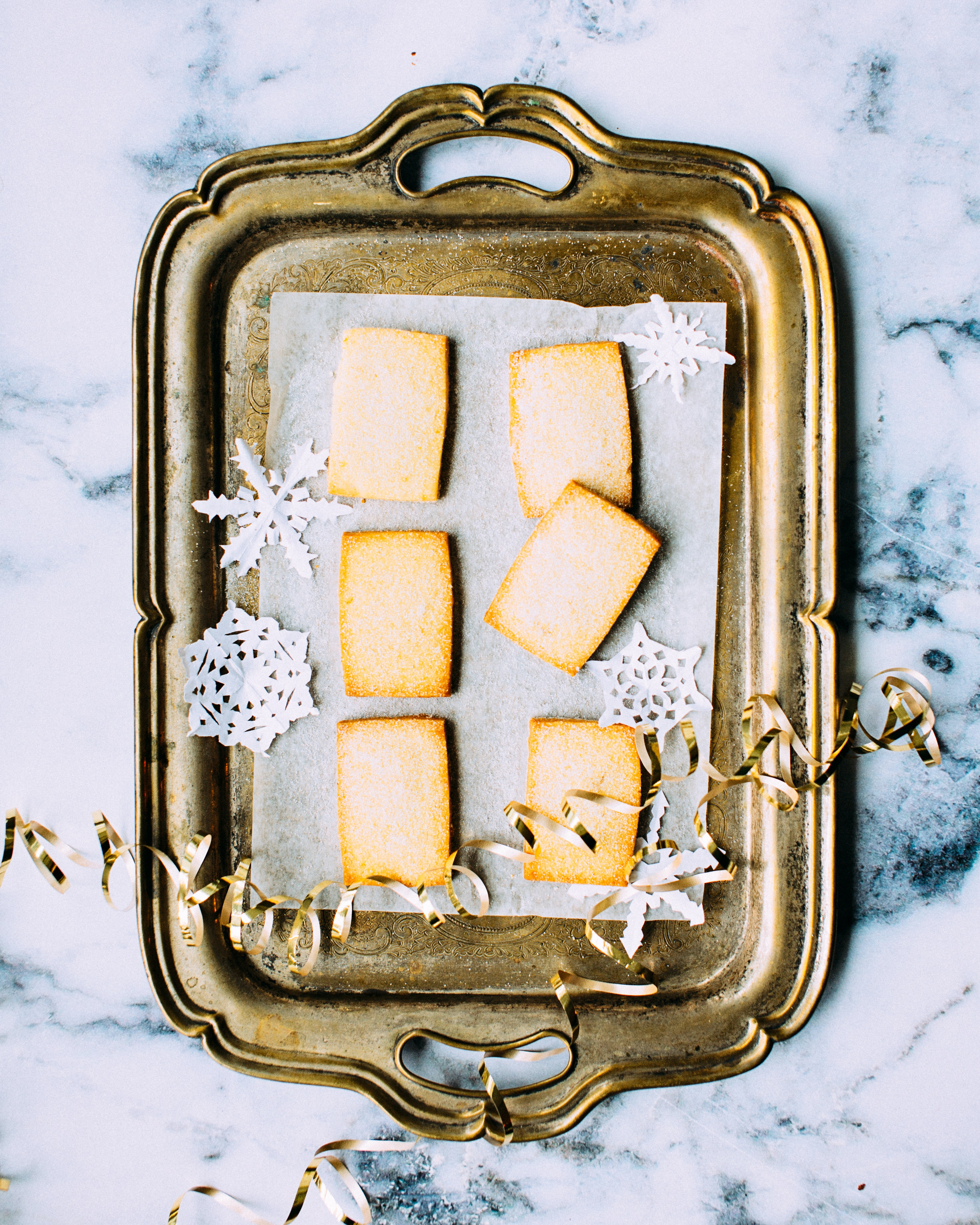oplatek, wafer, Poland, shared, wishes, tradition, tray, biscuits, shortbread, on tray, marble table, gold tray,